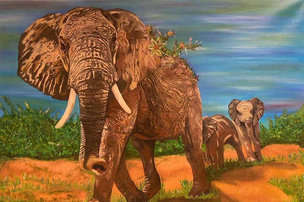 Elefant - Lienzo en óleo de 120 X 80 del pintor de arte alemán Marco Lux incluido en la Colección Lugares